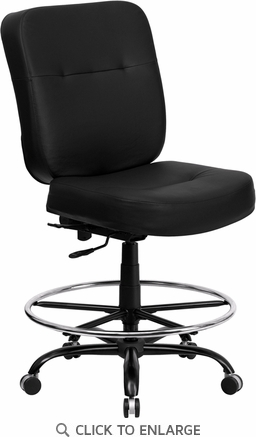 HERCULES 400 lb. Capacity Big & Tall Black Leather Drafting Stool with WIDE Seat [WL-735SYG-BK-LEA-D-GG]