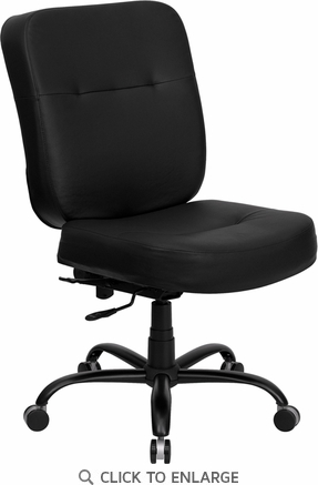 HERCULES 400 lb. Capacity Big & Tall Black Leather Office Chair with Extra WIDE Seat [WL-735SYG-BK-LEA-GG]