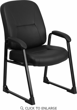 HERCULES  Big & Tall 400 lb. Capacity Black Leather Executive Office Chair with Sled Base [WL-738AV-LEA-GG]