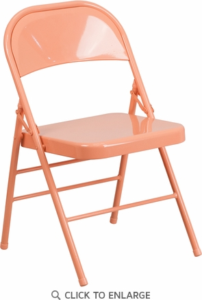 HERCULES COLORBURST Series Sedona Coral Triple Braced & Double Hinged Metal Folding Chair [HF3-CORAL-GG]