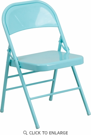 HERCULES COLORBURST Series Tantalizing Teal Triple Braced & Double Hinged Metal Folding Chair [HF3-TEAL-GG]