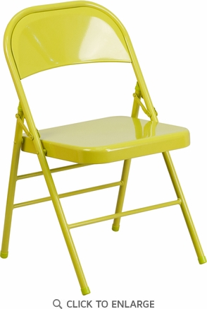 HERCULES COLORBURST Series Twisted Citron Triple Braced & Double Hinged Metal Folding Chair [HF3-CITRON-GG]