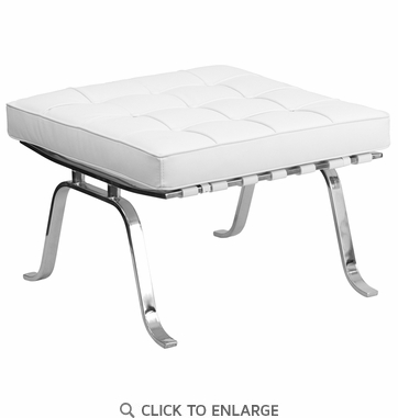 HERCULES Flash Series White Leather Ottoman [ZB-FLASH-801-OTTO-WHITE-GG]