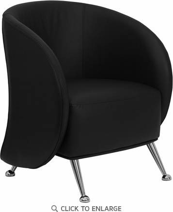 HERCULES Jet Black Leather Reception Chair [ZB-JET-855-BLACK-GG]