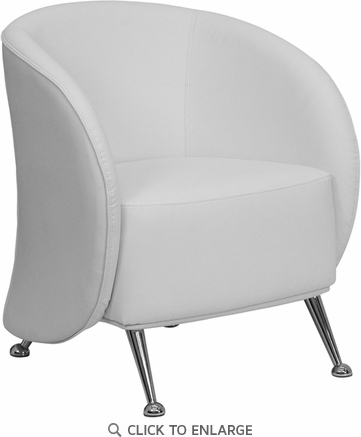 HERCULES Jet White Leather Reception Chair [ZB-JET-855-WH-GG]