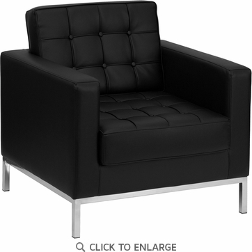HERCULES Lacey Black Leather Chair with Stainless Steel Frame [ZB-LACEY-831-2-CHAIR-BK-GG]