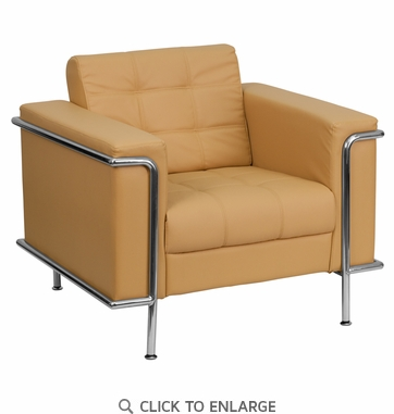 HERCULES Lesley Light Brown Leather Chair with Encasing Frame [ZB-LESLEY-8090-CHAIR-BRN-GG]
