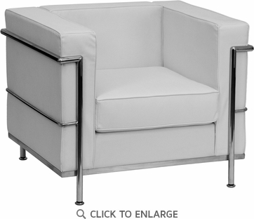 HERCULES Regal Series White Leather Chair with Encasing Frame [ZB-REGAL-810-1-CHAIR-WH-GG]