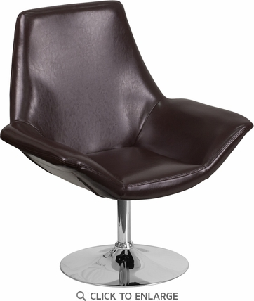 HERCULES Sabrina Series Brown Leather Reception Chair [CH-102242-BRN-GG]
