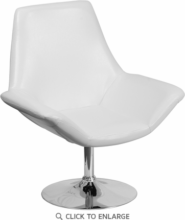 HERCULES Sabrina Series White Leather Reception Chair [CH-102242-WH-GG]
