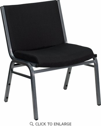 HERCULES Series 1000 lb. Capacity Big and Tall Extra Wide Black Fabric Stack Chair with Ganging Bracket [XU-60555-BK-GG]