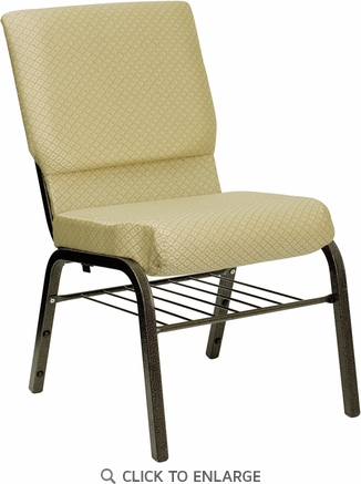 HERCULES Series 18.5''W Beige Patterned Fabric Church Chair with 4.25'' Thick Seat, Book Rack - Gold Vein Frame [XU-CH-60096-BGE-BAS-GG]