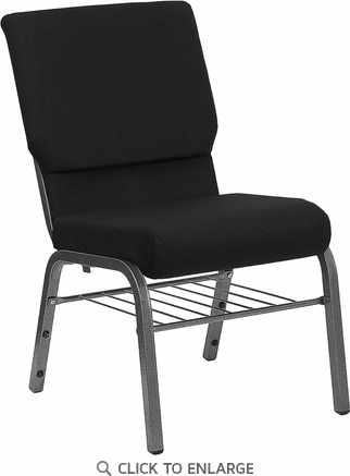 HERCULES Series 18.5''W Black Fabric Church Chair with 4.25'' Thick Seat, Book Rack - Silver Vein Frame [XU-CH-60096-BK-SV-BAS-GG]