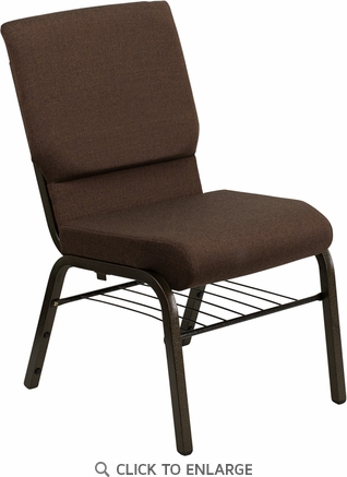 HERCULES Series 18.5''W Brown Fabric Church Chair with 4.25'' Thick Seat, Book Rack - Gold Vein Frame [XU-CH-60096-BN-BAS-GG]