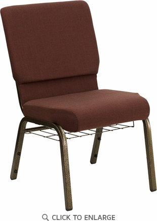 HERCULES Series 18.5''W Brown Fabric Church Chair with 4.25'' Thick Seat, Communion Cup Book Rack - Gold Vein Frame [FD-CH02185-GV-10355-BAS-GG]