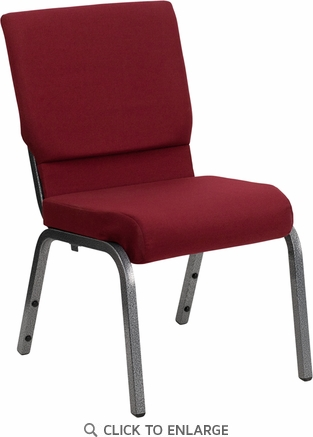 HERCULES Series 18.5''W Burgundy Fabric Stacking Church Chair with 4.25'' Thick Seat - Silver Vein Frame [XU-CH-60096-BY-SILV-GG]