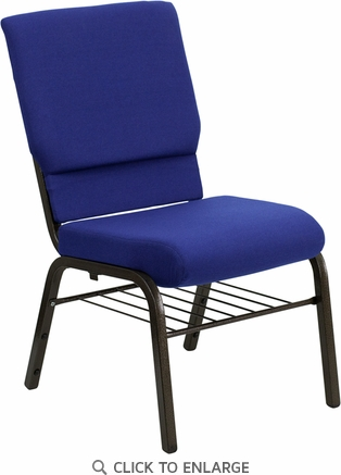 HERCULES Series 18.5''W Navy Blue Fabric Church Chair with 4.25'' Thick Seat, Book Rack - Gold Vein Frame [XU-CH-60096-NVY-BAS-GG]
