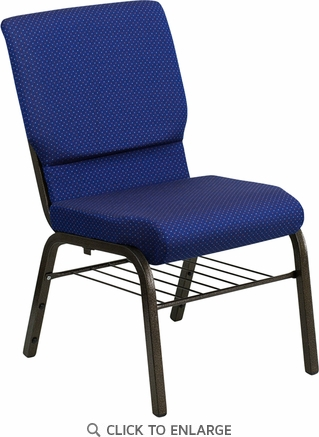 HERCULES Series 18.5''W Navy Blue Patterned Fabric Church Chair with 4.25'' Thick Seat, Book Rack - Gold Vein Frame [XU-CH-60096-NVY-DOT-BAS-GG]