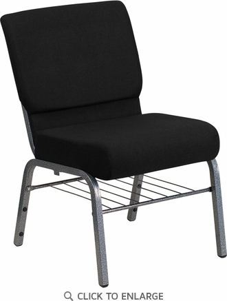HERCULES Series 21'' Extra Wide Black Fabric Church Chair with 3.75'' Thick Seat, Book Rack - Silver Vein Frame [XU-CH0221-BK-SV-BAS-GG]