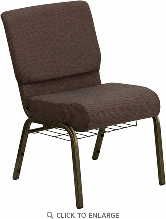 HERCULES Series 21'' Extra Wide Brown Fabric Church Chair with 4'' Thick Seat, Communion Cup Book Rack - Gold Vein Frame [FD-CH0221-4-GV-S0819-BAS-GG]