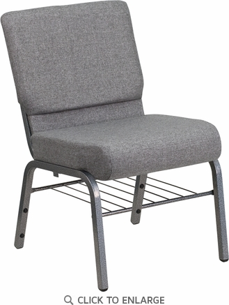 HERCULES Series 21'' Extra Wide Gray Fabric Church Chair with 3.75'' Thick Seat, Book Rack - Silver Vein Frame [XU-CH0221-GY-SV-BAS-GG]