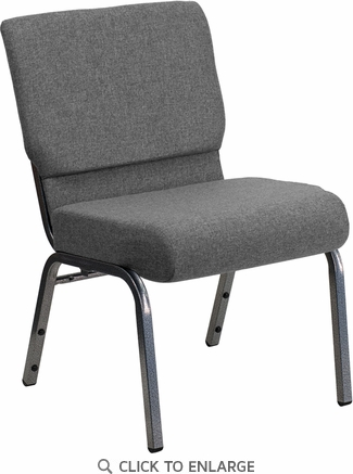 HERCULES Series 21'' Extra Wide Gray Fabric Stacking Church Chair with 3.75'' Thick Seat - Silver Vein Frame [XU-CH0221-GY-SV-GG]