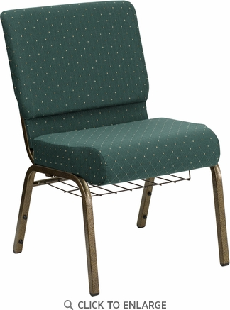 HERCULES Series 21'' Extra Wide Hunter Green Dot Patterned Fabric Church Chair with 4'' Thick Seat, Communion Cup Book Rack - Gold Vein Frame [FD-CH0221-4-GV-S0808-BAS-GG]