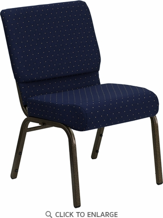 HERCULES Series 21'' Extra Wide Navy Blue Dot Patterned Fabric Stacking Church Chair with 4'' Thick Seat - Gold Vein Frame [FD-CH0221-4-GV-S0810-GG]