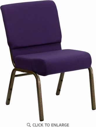 HERCULES Series 21'' Extra Wide Royal Purple Fabric Stacking Church Chair with 4'' Thick Seat - Gold Vein Frame [FD-CH0221-4-GV-ROY-GG]
