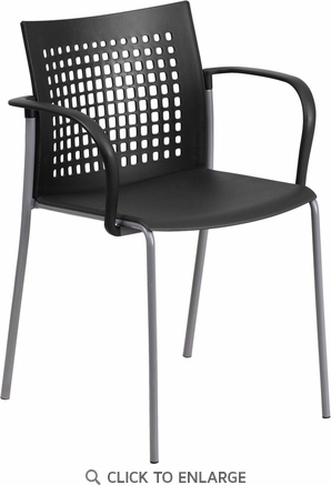 HERCULES Series 551 lb. Capacity Black Stack Chair with Air-Vent Back and Arms [RUT-1-BK-GG]