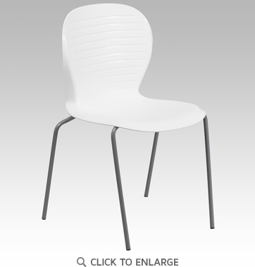 HERCULES Series 551 lb. Capacity White Stack Chair [RUT-3-WH-GG]