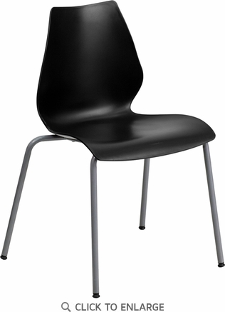 HERCULES Series 770 lb. Capacity Black Stack Chair with Lumbar Support and Silver Frame [RUT-288-BK-GG]