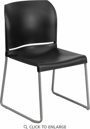 HERCULES Series 880 lb. Capacity Black Full Back Contoured Stack Chair with Sled Base [RUT-238A-BK-GG]
