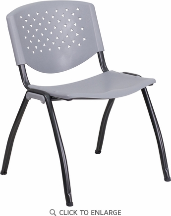 HERCULES Series 880 lb. Capacity Gray Plastic Stack Chair with Black Frame Finish [RB-F01A-GY-GG]