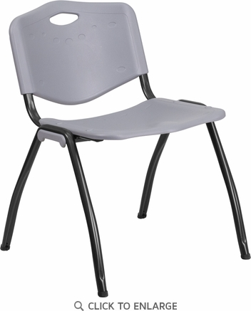 HERCULES Series 880 lb. Capacity Gray Plastic Stack Chair with Black Frame [RB-D01-GY-GG]