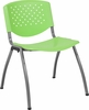 HERCULES Series 880 lb. Capacity Green Plastic Stack Chair with Titanium Frame [RUT-F01A-GN-GG]