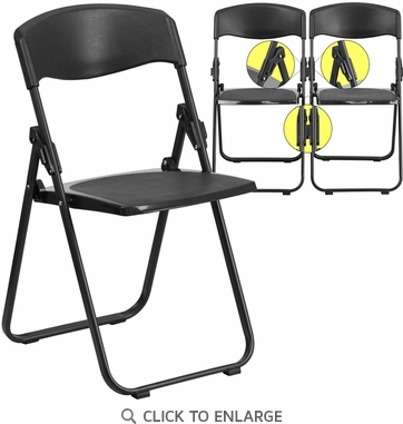 HERCULES Series 880 lb. Capacity Heavy Duty Black Plastic Folding Chair with Built-in Ganging Brackets [RUT-I-BLACK-GG]
