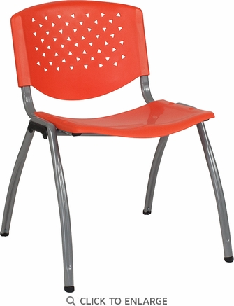 HERCULES Series 880 lb. Capacity Orange Plastic Stack Chair with Titanium Frame [RUT-F01A-OR-GG]