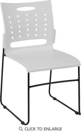 HERCULES Series 881 lb. Capacity White Sled Base Stack Chair with Air-Vent Back [RUT-2-WH-GG]