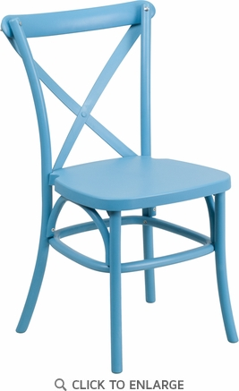 HERCULES Series Blue Resin Indoor-Outdoor Cross Back Chair with Steel Inner Leg [LE-9-BL-GG]
