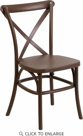 HERCULES Series Chocolate Resin Indoor-Outdoor Cross Back Chair with Steel Inner Leg [LE-9-CH-GG]