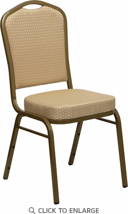 HERCULES Series Crown Back Stacking Banquet Chair with Beige Patterned Fabric and 2.5'' Thick Seat - Gold Frame [FD-C01-ALLGOLD-H20124E-GG]