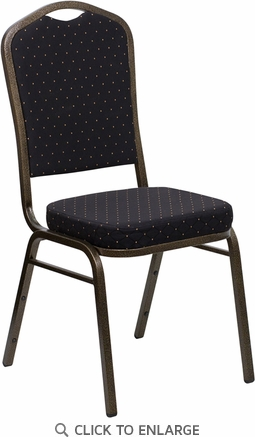 HERCULES Series Crown Back Stacking Banquet Chair with Black Patterned Fabric and 2.5'' Thick Seat - Gold Vein Frame [FD-C01-GOLDVEIN-S0806-GG]