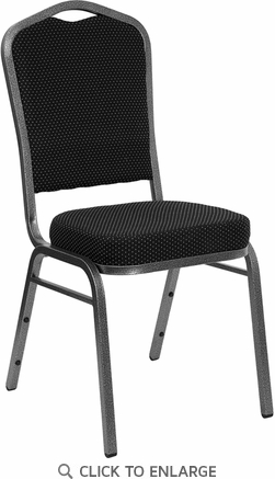 HERCULES Series Crown Back Stacking Banquet Chair with Black Patterned Fabric and 2.5'' Thick Seat - Silver Vein Frame [FD-C01-SILVERVEIN-S076-GG]