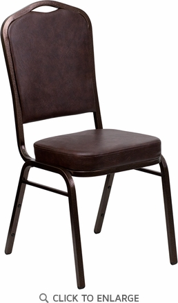 HERCULES Series Crown Back Stacking Banquet Chair with Brown Vinyl and 2.5'' Thick Seat - Copper Vein Frame [FD-C01-COPPER-BRN-VY-GG]