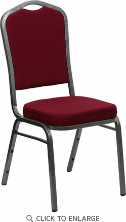HERCULES Series Crown Back Stacking Banquet Chair with Burgundy Fabric and 2.5'' Thick Seat - Silver Vein Frame [FD-C01-SILVERVEIN-3169-GG]