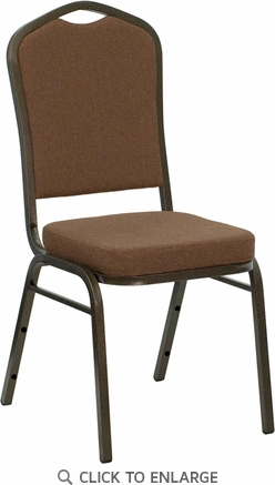 HERCULES Series Crown Back Stacking Banquet Chair with Coffee Fabric and 2.5'' Thick Seat - Gold Vein Frame [NG-C01-COFFEE-GV-GG]