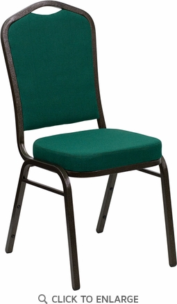 HERCULES Series Crown Back Stacking Banquet Chair with Green Fabric and 2.5'' Thick Seat - Gold Vein Frame [FD-C01-GOLDVEIN-GN-GG]