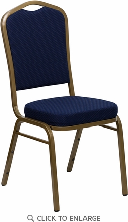 HERCULES Series Crown Back Stacking Banquet Chair with Navy Blue Patterned Fabric and 2.5'' Thick Seat - Gold Frame [FD-C01-ALLGOLD-2056-GG]