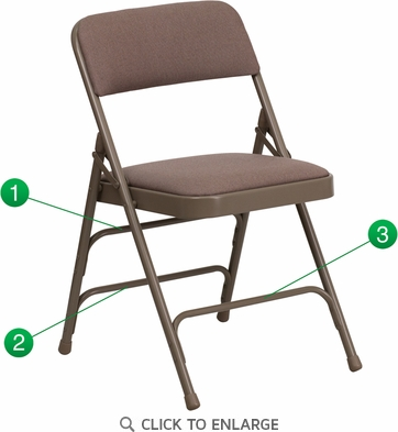 HERCULES Series Curved Triple Braced & Double Hinged Beige Fabric Upholstered Metal Folding Chair [HA-MC309AF-BGE-GG]